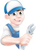 Plumber Mechanic Cartoon Man