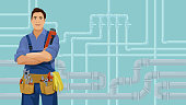 Worker with plumbing tools stands front the pipeline background. Cartoon smiling plumber. Water piping system repair concept. Vector illustration with copy space.