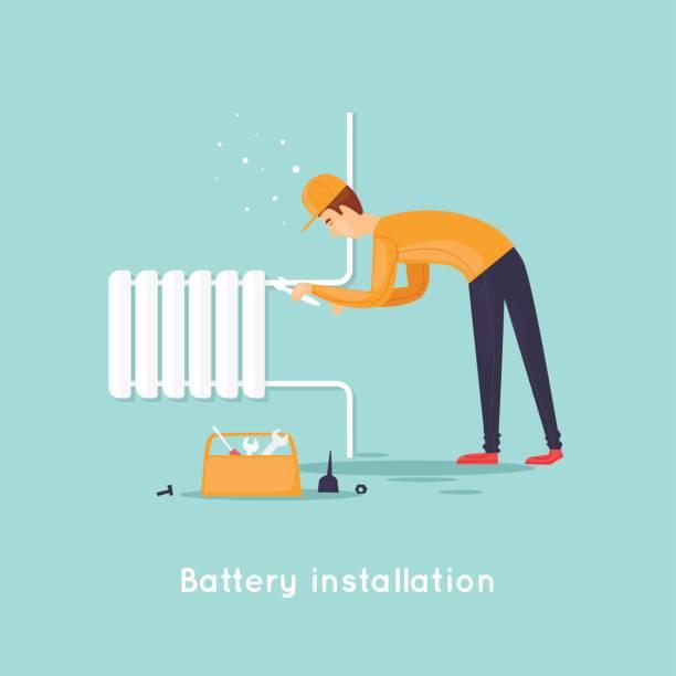 Klempner-Reparatur und Installation von Batterien. Flaches Design-Vektor-Illustration. – Vektorgrafik