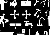 Plumber royalty free vector icon set