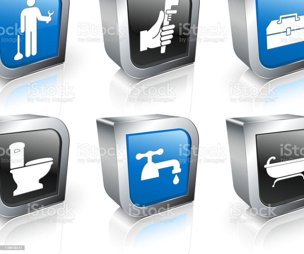 Plumber square royalty free vector icon set royalty-free stock vector art