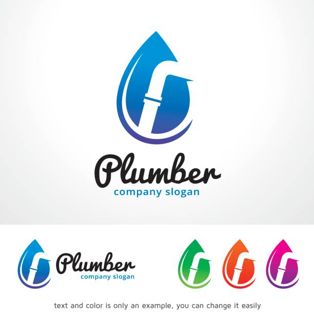 plumber symbol template design vector, emblem, design concept, creative symbol, icon - plumber stock illustrations, clip art, cartoons, & icons