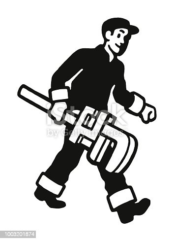 istock Plumber with Huge Wrench 1003201874