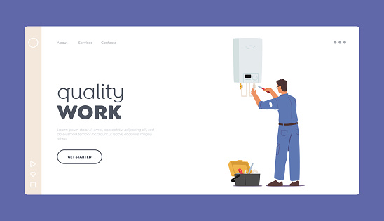 Plumber Work Landing Page Template. Call Master Character in Robe Install Heater. Husband for an Hour Repair Service
