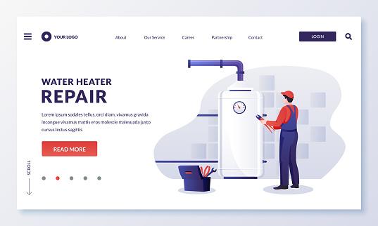 Plumber worker repairs or install water heater boiler. Vector illustration. Home repair, maintenance, plumbing services