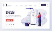 istock Plumber worker repairs or install water heater boiler. Vector illustration. Home repair, maintenance, plumbing services 1224233385