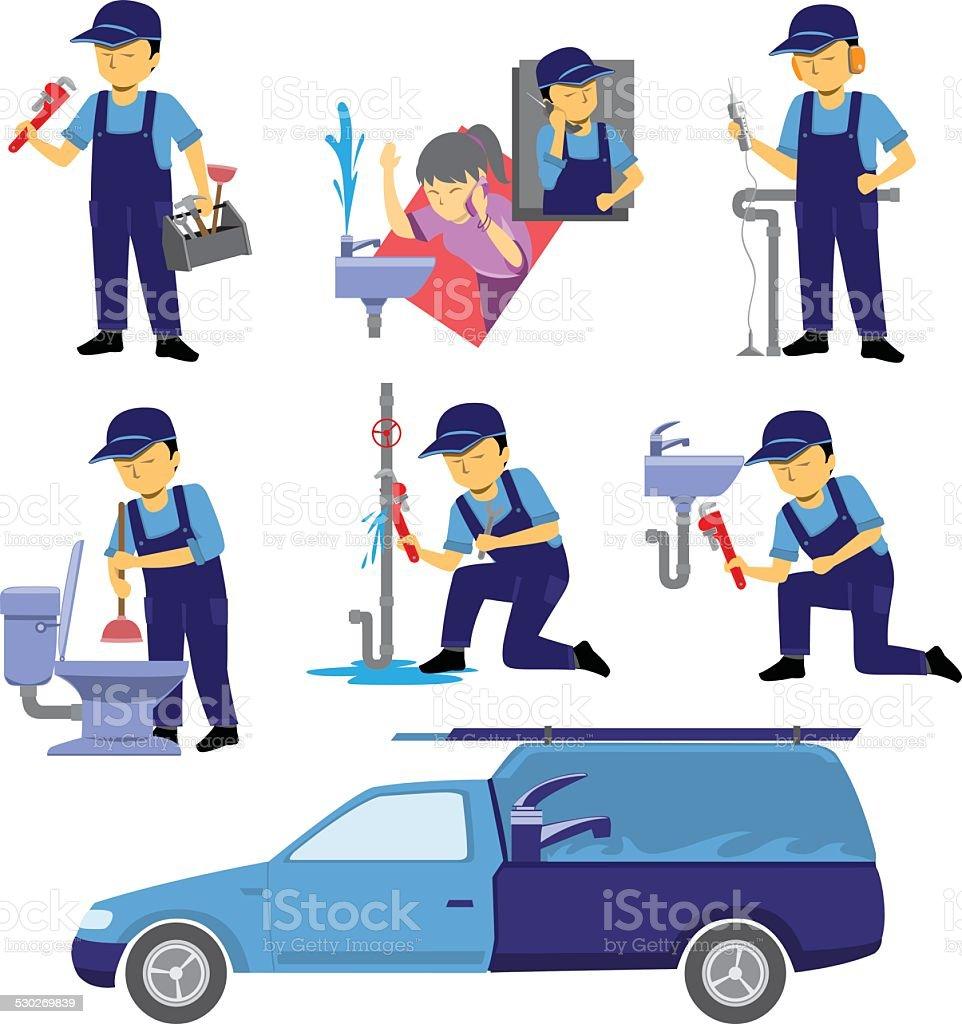 Plumber Worker Set vector art illustration