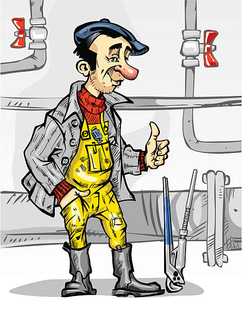 plumber_val_1 - flange stock illustrations, clip art, cartoons, & icons