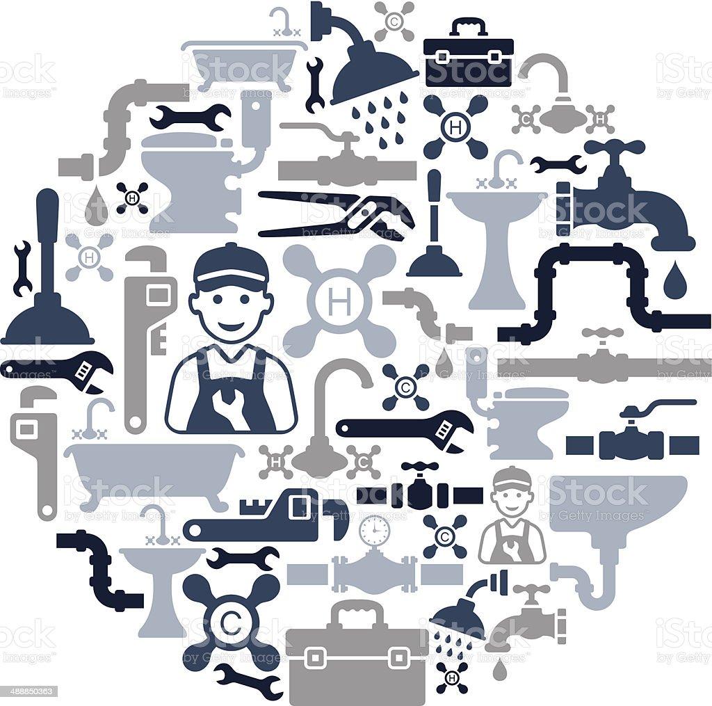 Plumbing Collage vector art illustration