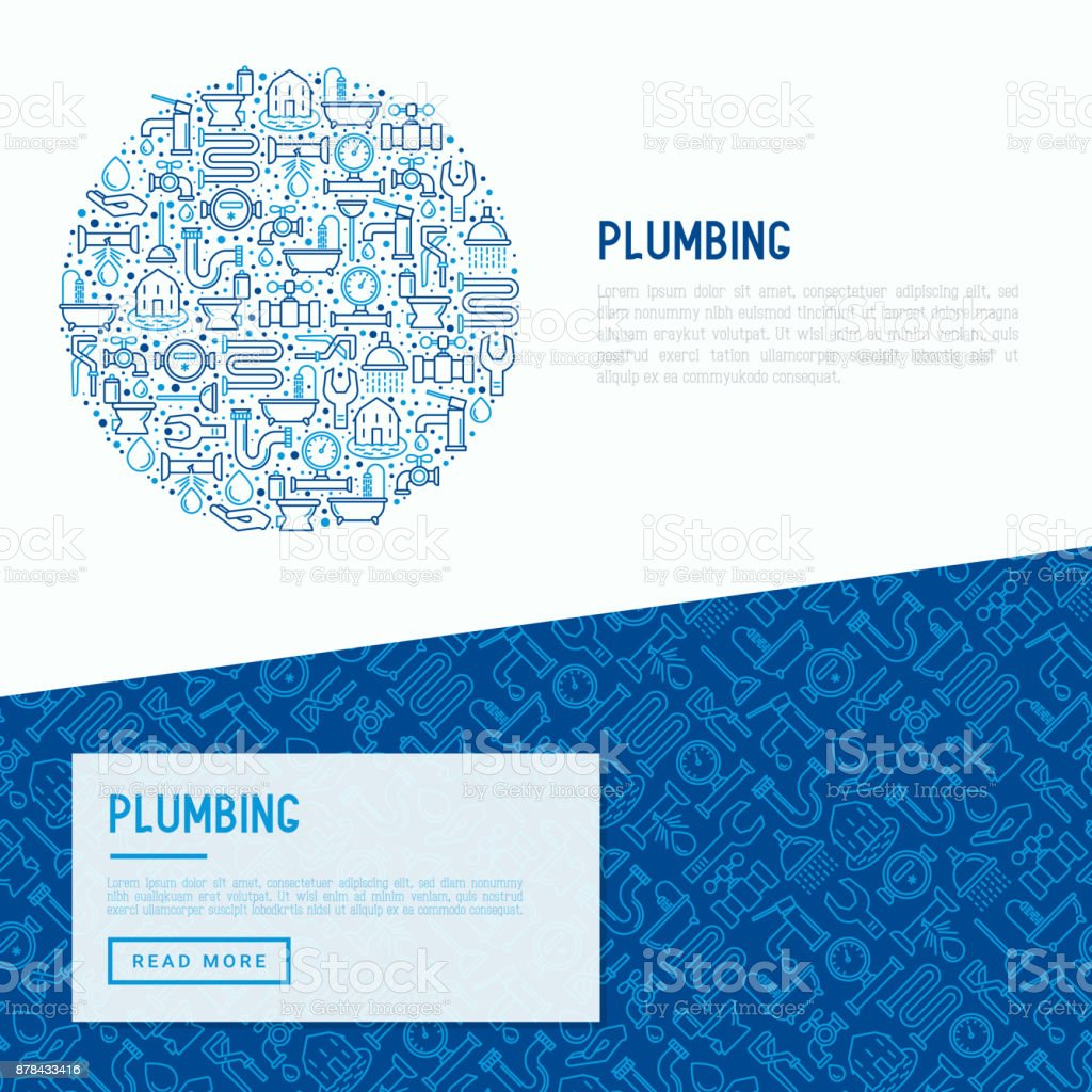 Plumbing concept with thin line icons of bathtub, shower, pipe, wrench, drop, leakage, meter, plunger. Modern vector illustration for banner, web page, print media. vector art illustration