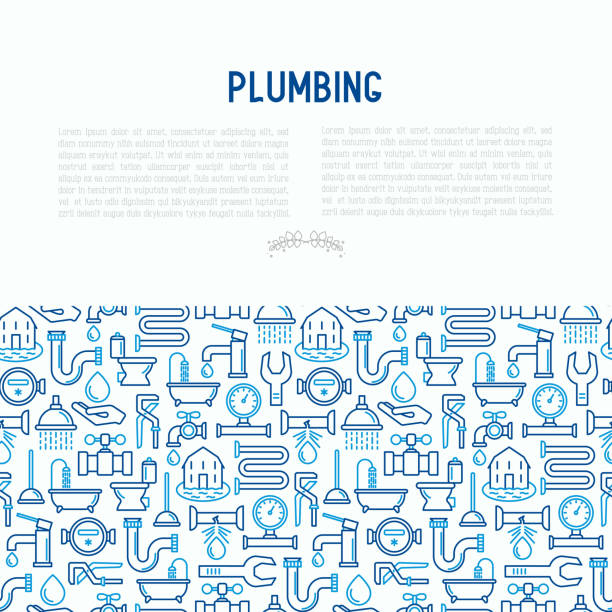 plumbing concept with thin line icons of bathtub, shower, pipe, wrench, drop, leakage, meter, plunger. modern vector illustration for banner, web page, print media. - plumber stock illustrations, clip art, cartoons, & icons