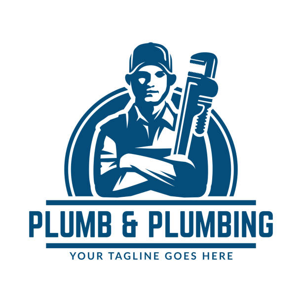 plumbing design or icon template, easy to customize - plumber stock illustrations, clip art, cartoons, & icons