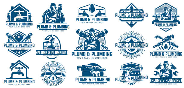 15 plumbing design or icon template pack, with retro or vintage style. - plumber stock illustrations, clip art, cartoons, & icons