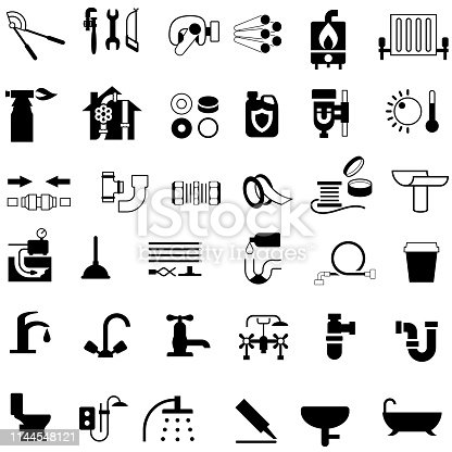 Single color isolated icons of plumbing fittings and equipment.