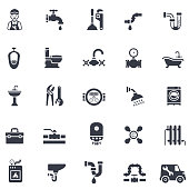 Plumbing service vector icons