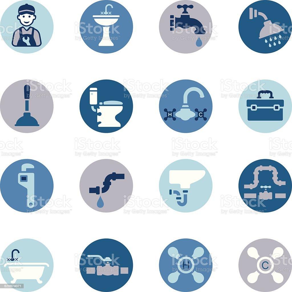 Plumbing Icon Set vector art illustration
