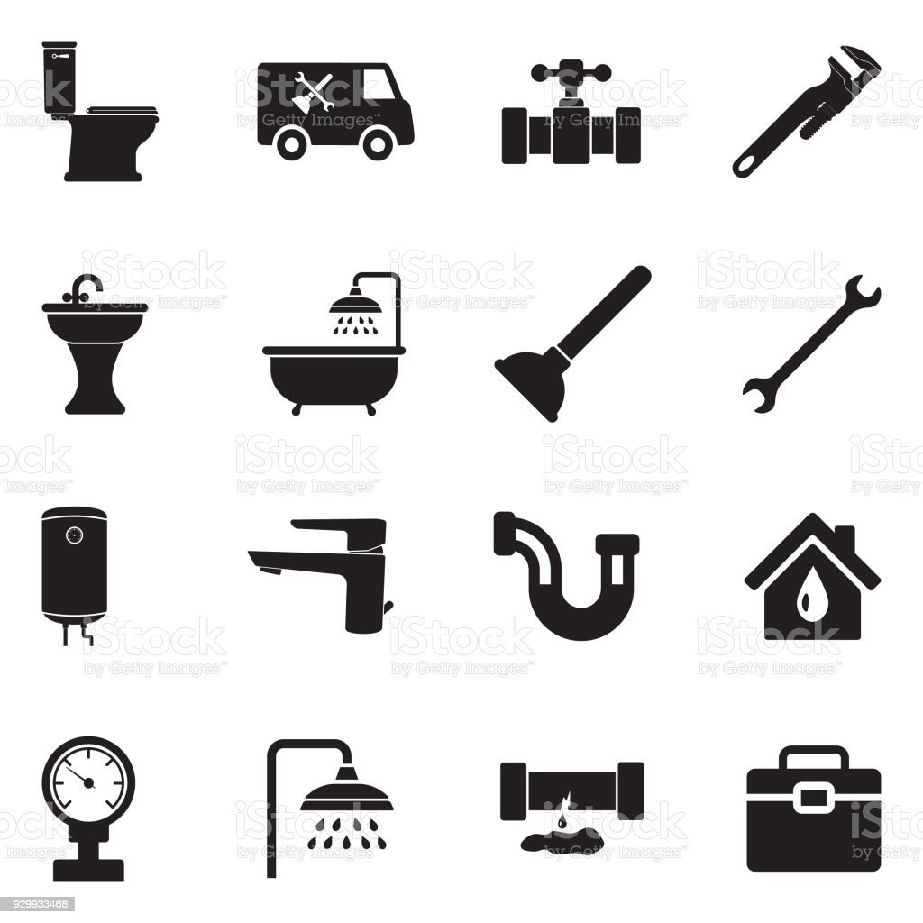 Plumbing Icons. Black Flat Design. Vector Illustration. vector art illustration