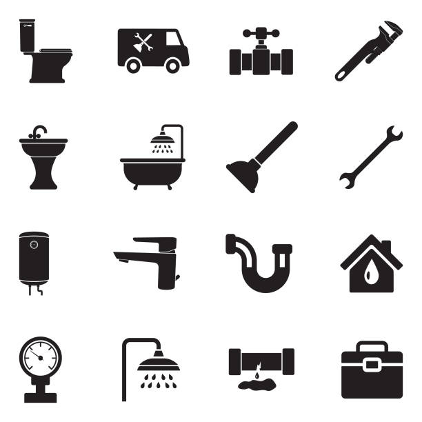 plumbing icons. black flat design. vector illustration. - plumber stock illustrations, clip art, cartoons, & icons