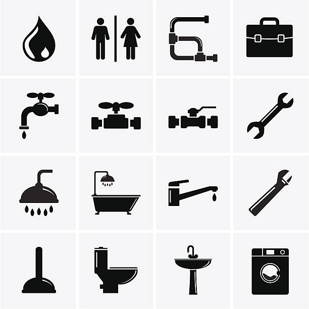 installation symbole - duscharmaturen stock-grafiken, -clipart, -cartoons und -symbole
