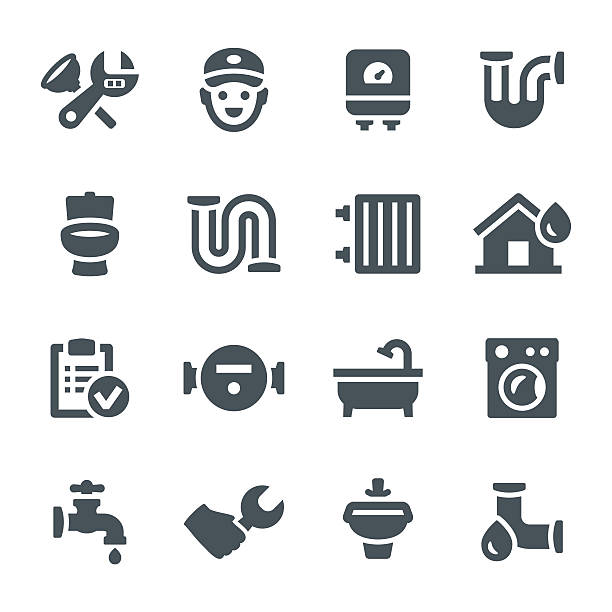 plumbing icons - plumber stock illustrations, clip art, cartoons, & icons