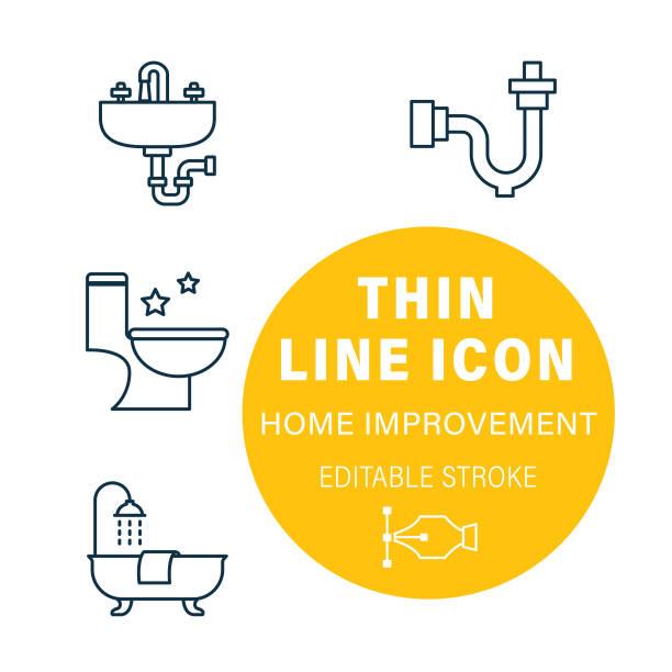 Plumbing Line Home Improvement DIY Icon Set vector art illustration