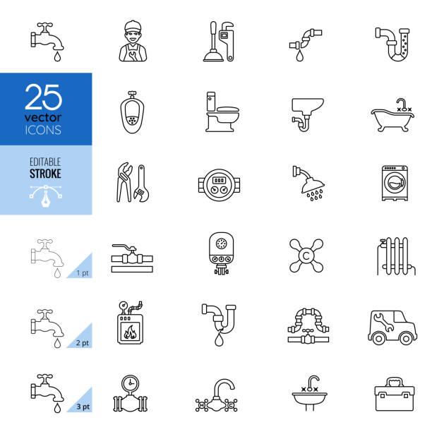 ilustrações, clipart, desenhos animados e ícones de jogo do ícone da linha do encanamento. traçado editável. - encanador