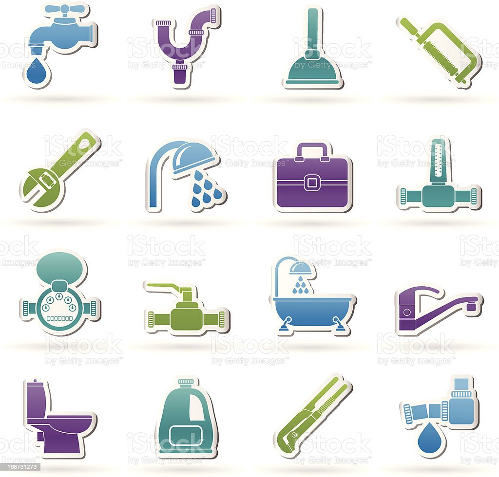 plumbing objects and tools icons royalty-free plumbing objects and tools icons stock vector art & more images of backgrounds