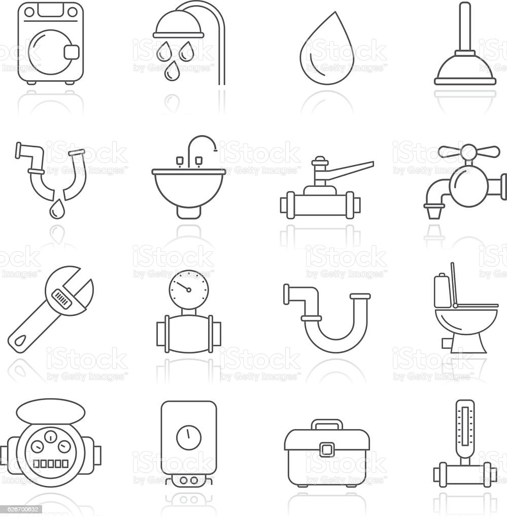 plumbing objects and tools icons vector art illustration