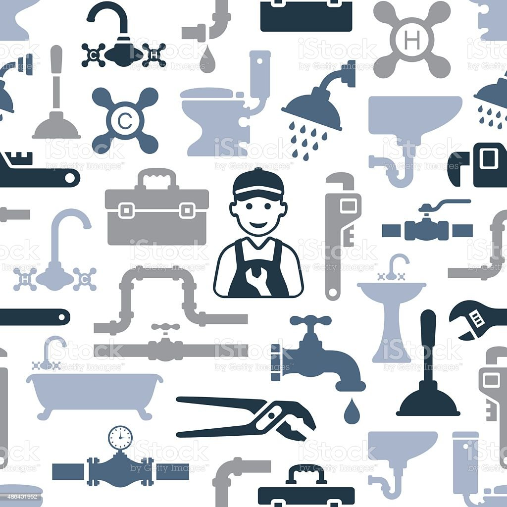 Plumbing Pattern vector art illustration