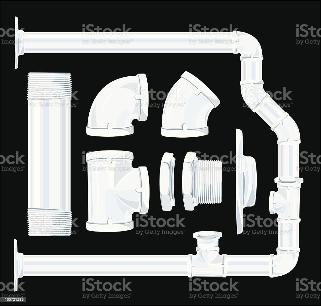 Plumbing Pipes and Joints royalty-free stock vector art