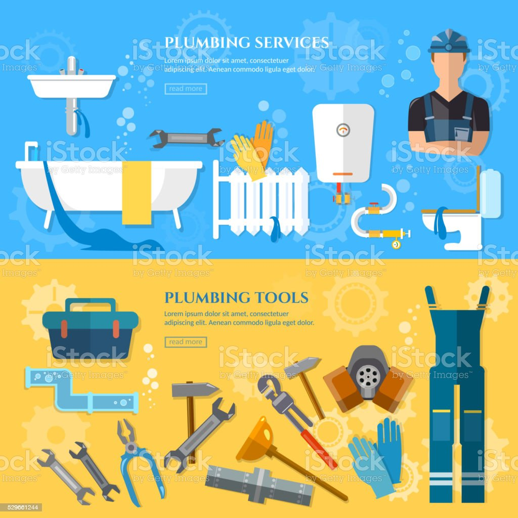 Plumbing repair service banner professional plumber vector art illustration