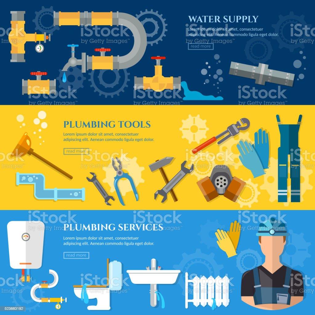 Plumbing repair service banner vector art illustration