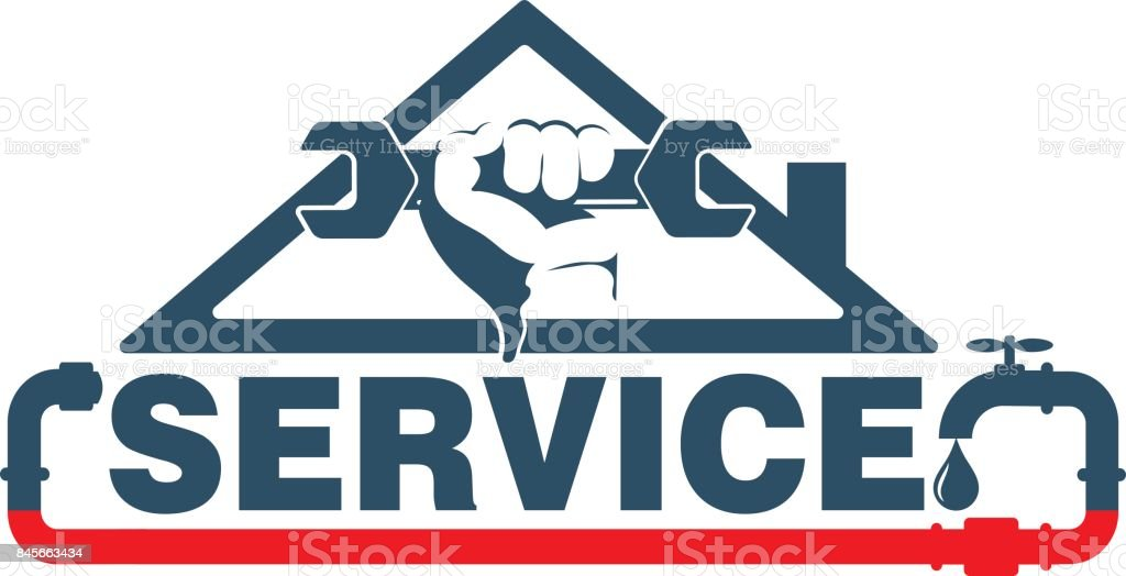 Plumbing repairs and maintenance vector vector art illustration