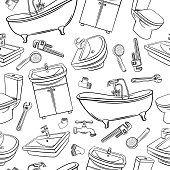 Plumbing seamless pattern. Hand drawn shower, bathroom sink, toilet, sanitary wrench and tap for house plumbing promotion design. Sketch vector background.