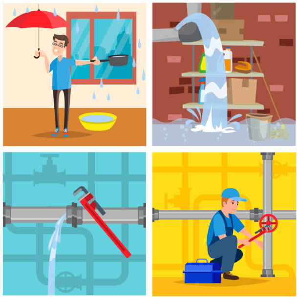plumbing service concept set. repair fix leaking of roof, basement, pipe. vector illustration. isolated. - basement stock illustrations