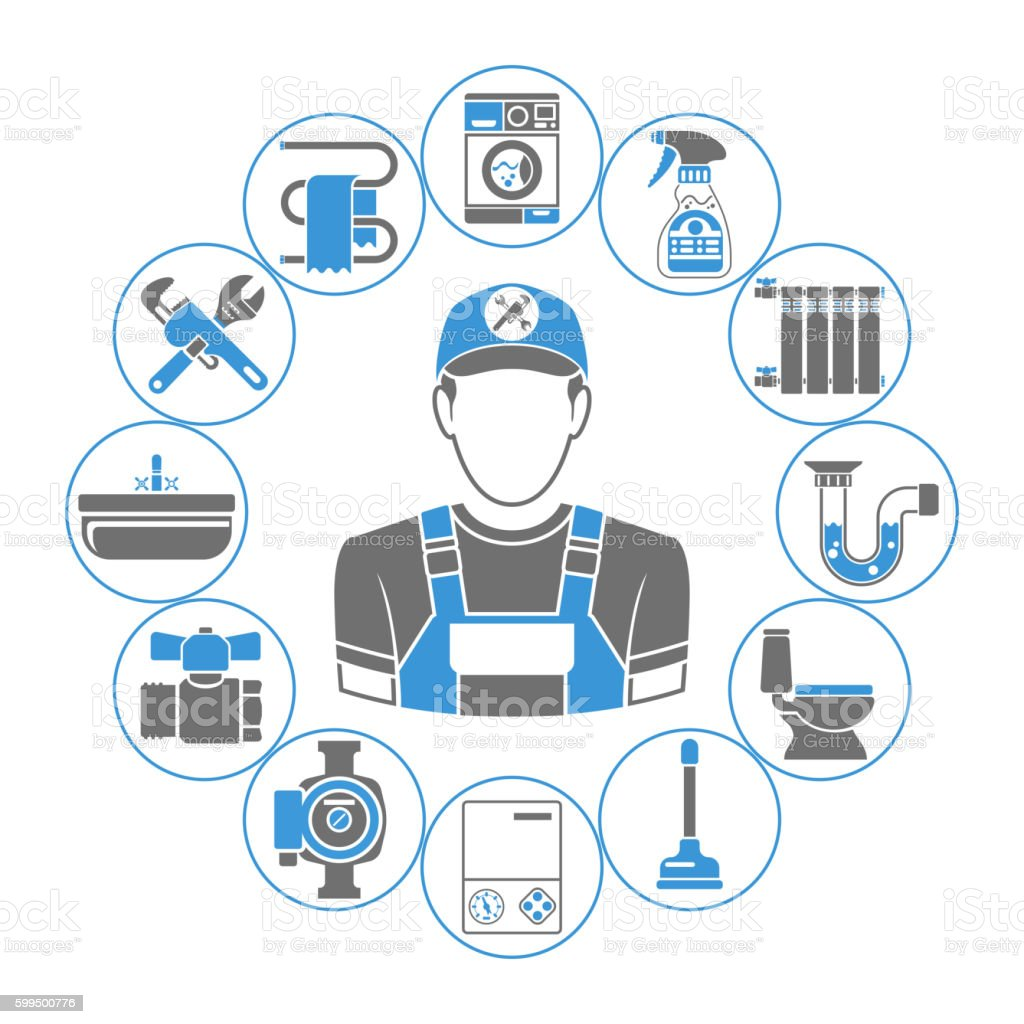 Plumbing Service Concept vector art illustration