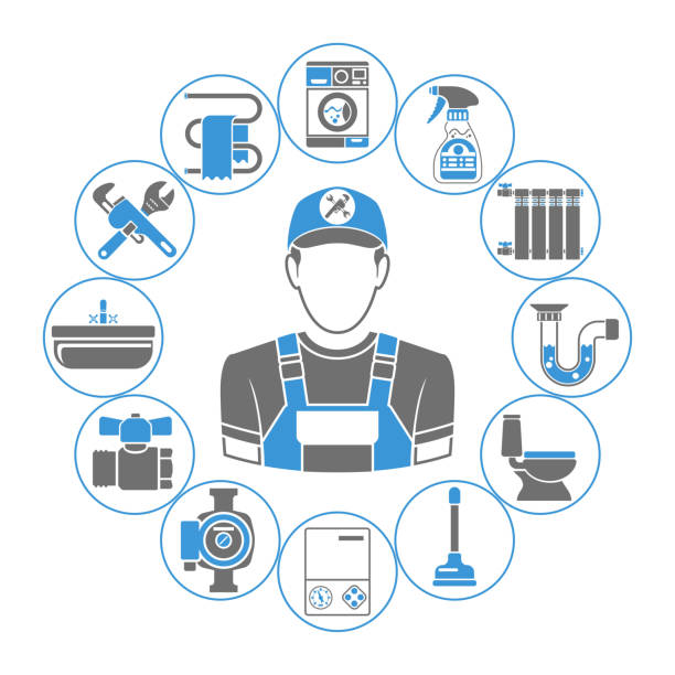 plumbing service concept - plumber stock illustrations, clip art, cartoons, & icons
