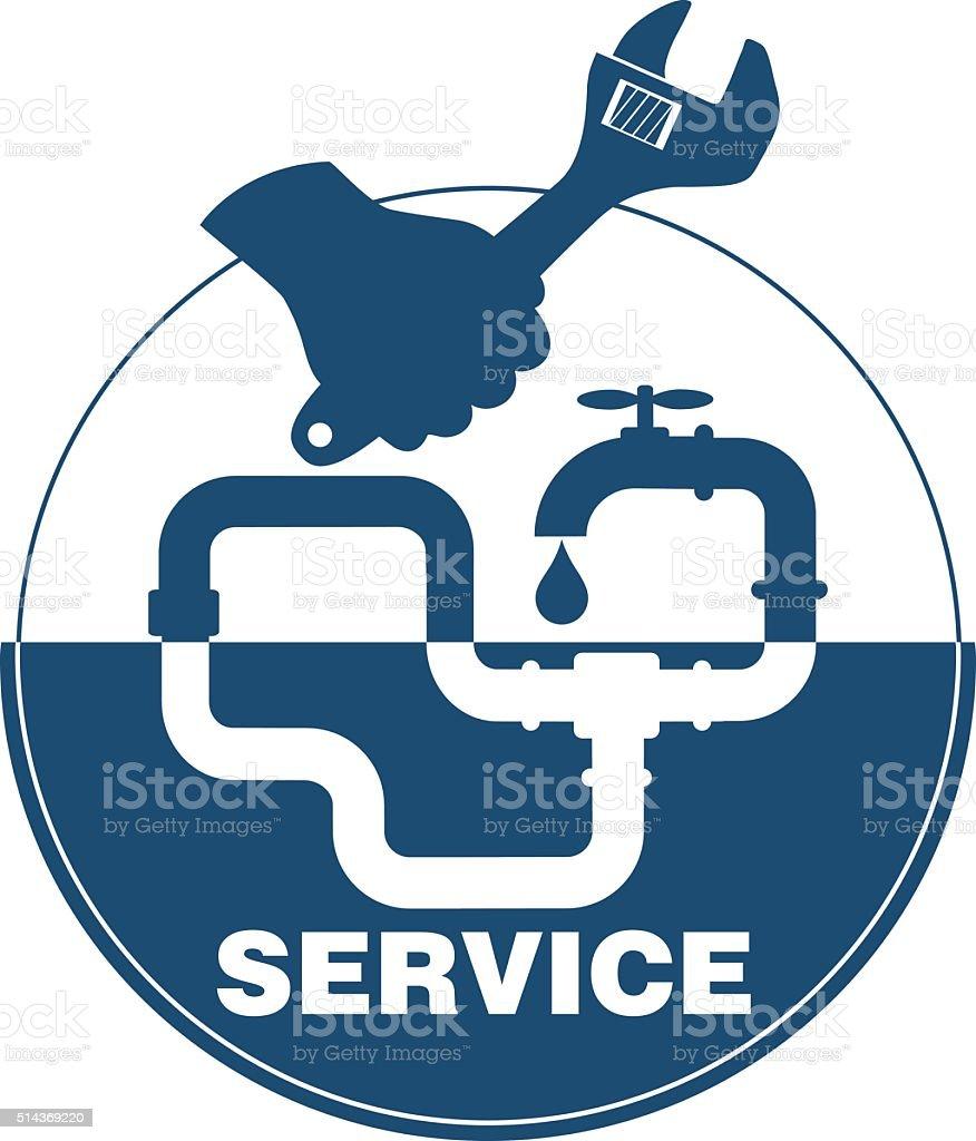 Plumbing service emblem vector art illustration