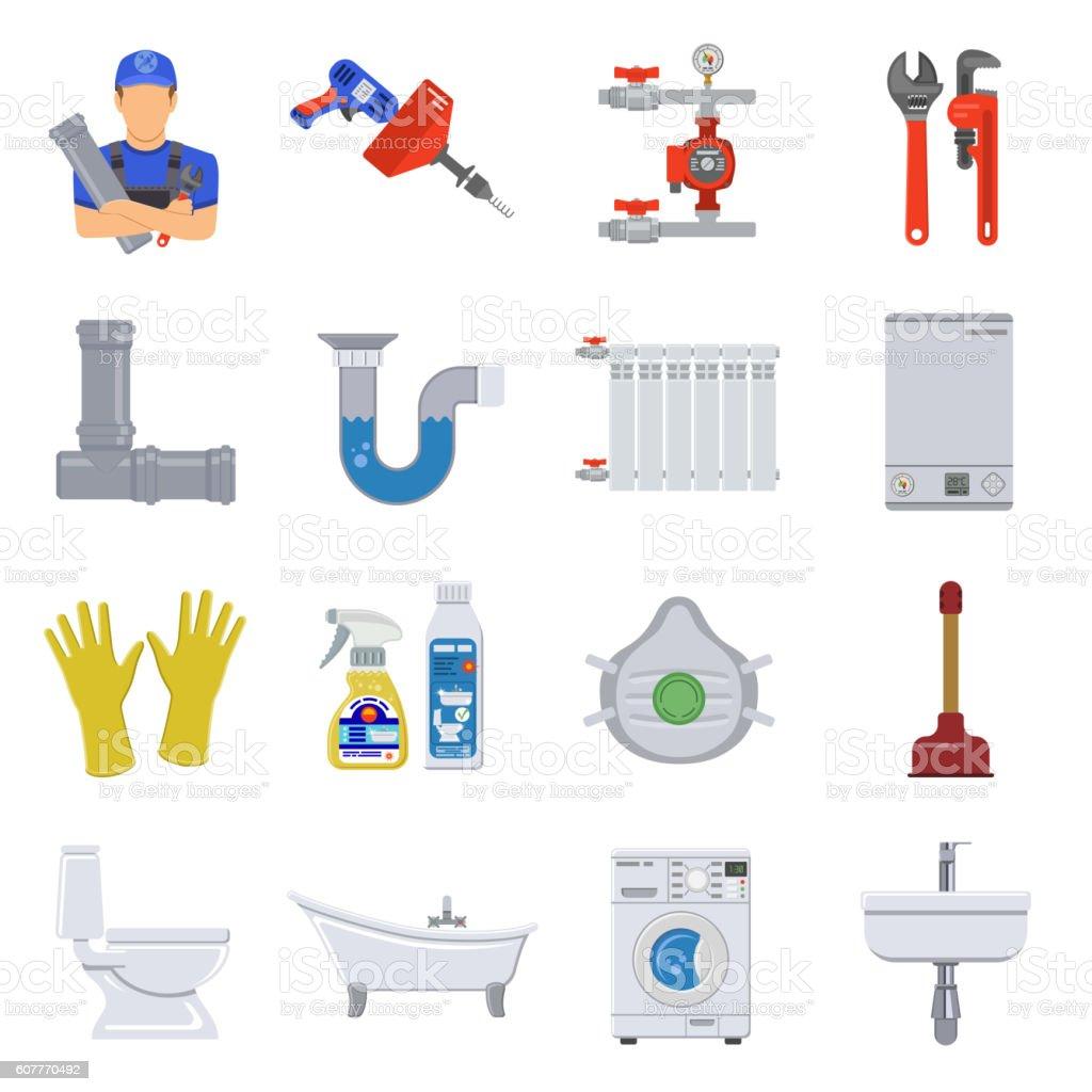 Plumbing Service Flat Icons Set vector art illustration
