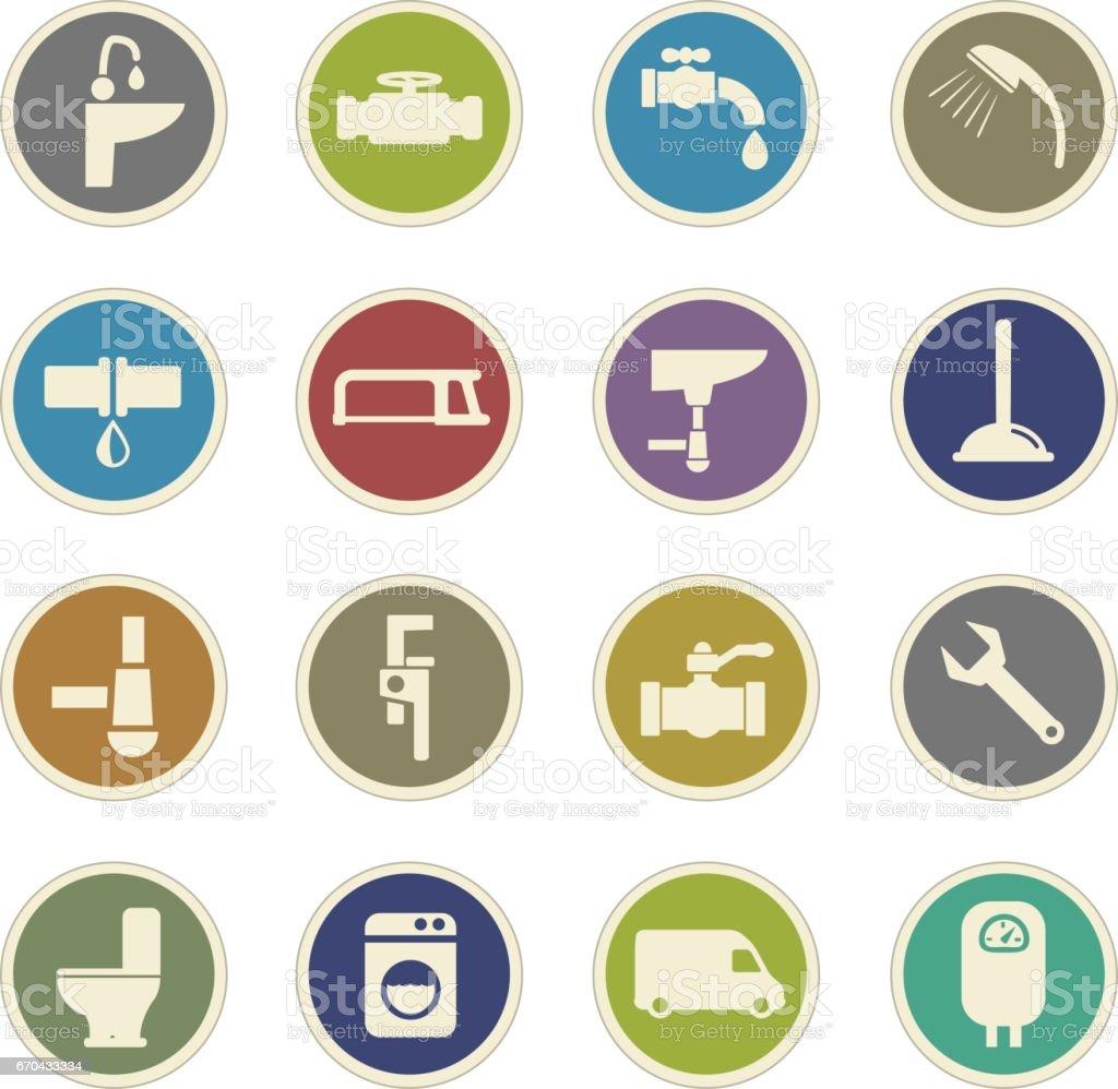 plumbing service icon set vector art illustration