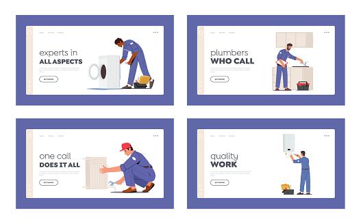 Plumbing Service Landing Page Template Set. Plumber Characters Repair Broken Technics Washing Machine, Sink, Heater