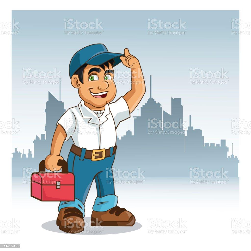 plumbing service plumber cartoon design vector graphic stock vector