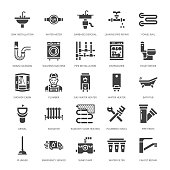 Plumbing service vector flat glyph icons. House bathroom equipment, faucet, toilet, pipeline, washing machine, dishwasher. Plumber repair illustration, solid signs for handyman services.
