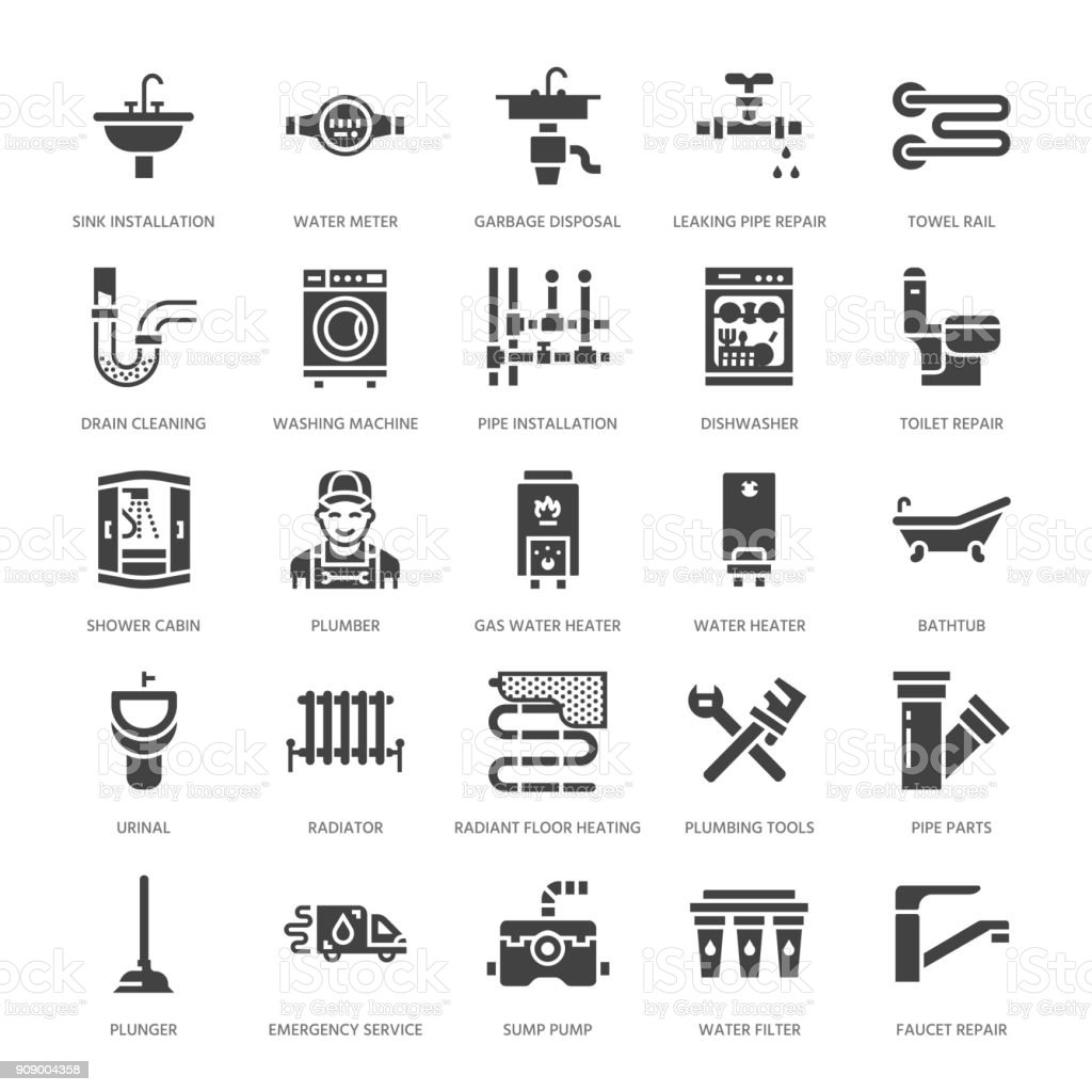 Plumbing service vector flat glyph icons. House bathroom equipment, faucet, toilet, pipeline, washing machine, dishwasher. Plumber repair illustration, solid signs for handyman services vector art illustration