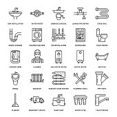 Plumbing service vector flat line icons. House bathroom equipment, faucet, toilet, pipeline, washing machine, dishwasher. Plumber repair illustration, thin linear signs for handyman services