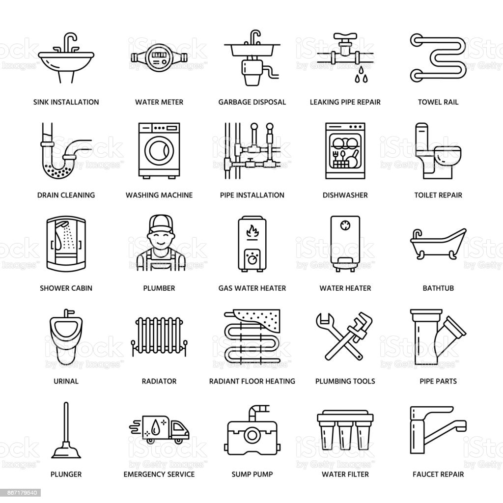 Plumbing service vector flat line icons. House bathroom equipment, faucet, toilet, pipeline, washing machine, dishwasher. Plumber repair illustration, thin linear signs for handyman services vector art illustration