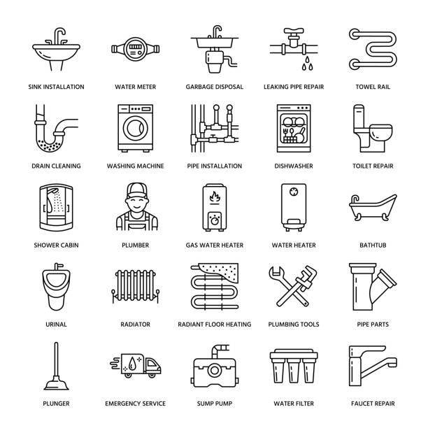 plumbing service vector flat line icons. house bathroom equipment, faucet, toilet, pipeline, washing machine, dishwasher. plumber repair illustration, thin linear signs for handyman services - plumber stock illustrations, clip art, cartoons, & icons