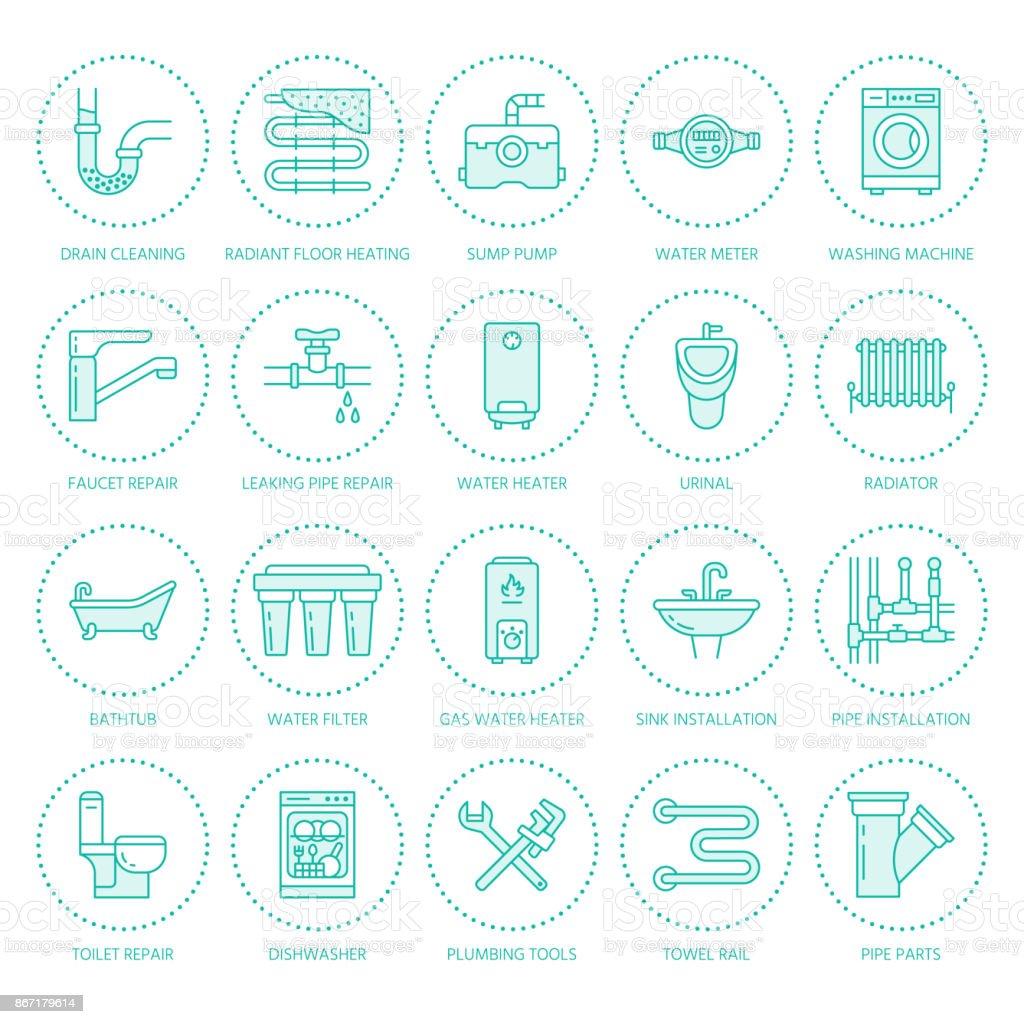 Sanitair Service Vector Platte Lijn Pictogrammen Het Huis Van ...