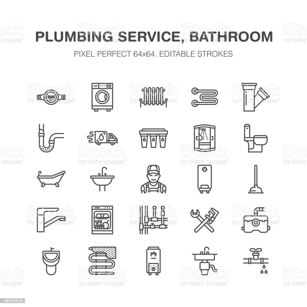 Plumbing Service Vector Flat Line Icons. House Bathroom Equipment, Faucet,  Toilet, Pipeline