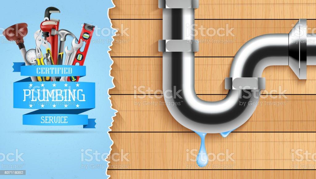 Plumbing service with repair tools vector art illustration